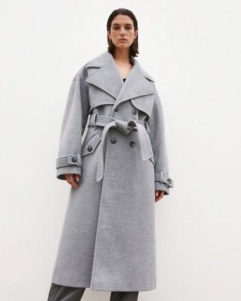 RIVER ISLAND Grey RI Studio trench coat ~ womens belted tie waist winter coats - flipped