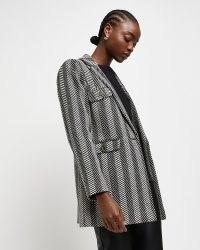 RIVER ISLAND Grey tailored boucle blazer ~ womens fashionable blazers