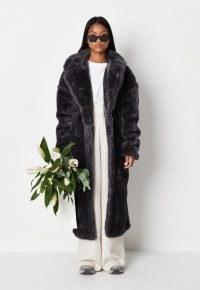 MISSGUIDED grey teddy borg seam detail longline coat ~ womens luxe style winter coats ~ women's on-trend faux fur outerwear
