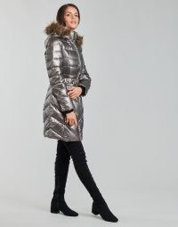 GUESS CECILIA DOWN JACKET in Bronze ~ womens luxe style faux fur hood jackets ~ women's metallic padded winter coats ~ spartoo outerwear