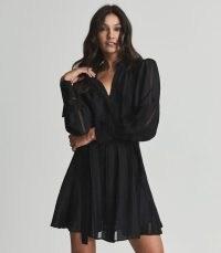 REISS HARRIET FRILL-SKIRT SHIRTDRESS BLACK ~ feminine flared hem shirt dresses ~ floaty LBD