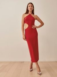 REFORMATION Cammi Dress in Cherry / side cut out halterneck dresses / glamorous halter neck fashion / cut out detail evening occasionwear / party glamour