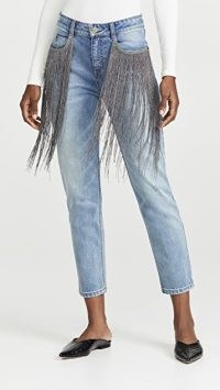 Hellessy Lance Jeans ~ metallic fringed denim jeans