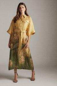 KAREN MILLEN Heron Print Satin Maxi Belted Woven Shirt Dress / luxe style bird and floral print tie waist dresses