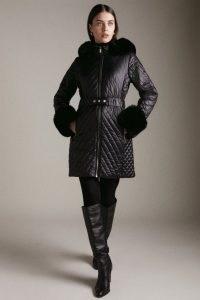 KAREN MILLEN High Shine Faux Fur Cuff Quilted Coat / glamorous winter coats / womens outerwear