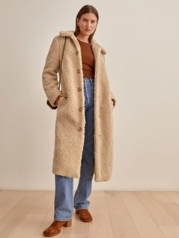 REFORMATION Ivan Coat in Camel ~ light brown textured coats ~ womens winter outerwear - flipped