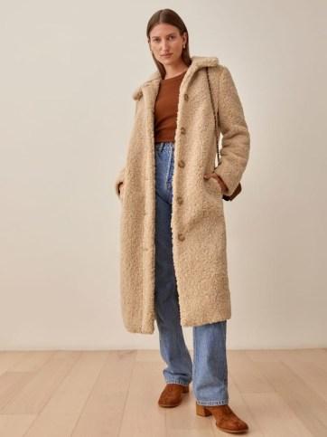 REFORMATION Ivan Coat in Camel ~ light brown textured coats ~ womens winter outerwear