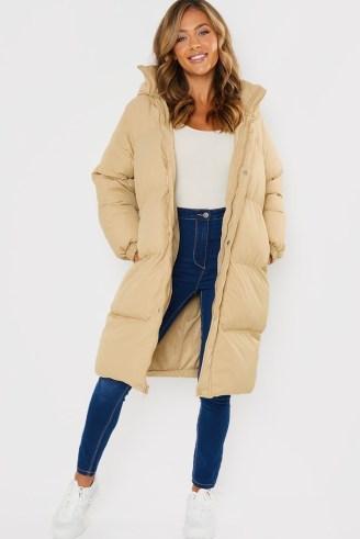 JAC JOSSA STONE LONG LINE BELTED PUFFER COAT ~ padded celebrity inspired longline winter coats - flipped