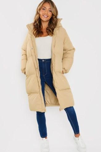 JAC JOSSA STONE LONG LINE BELTED PUFFER COAT ~ padded celebrity inspired longline winter coats