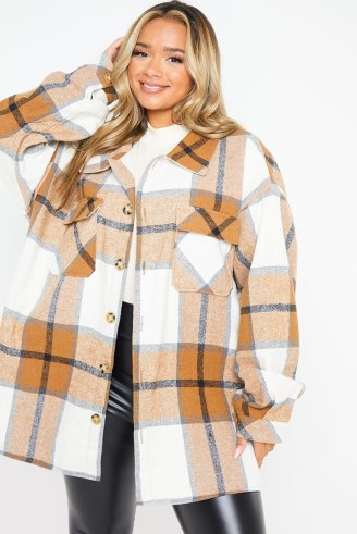 JAC JOSSA TAN CHECK OVERSIZED SHACKET ~ checked celebrity inspired shackets ~ womens shirt jackets - flipped