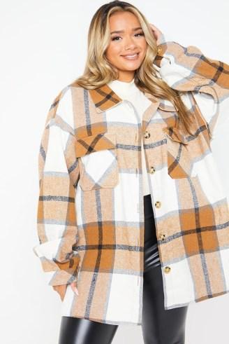 JAC JOSSA TAN CHECK OVERSIZED SHACKET ~ checked celebrity inspired shackets ~ womens shirt jackets