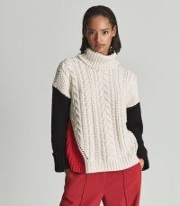REISS JAN COLOUR BLOCK CABLE KNIT ROLL-NECK JUMPER MULTI ~ chic chunky high neck colourblock jumpers