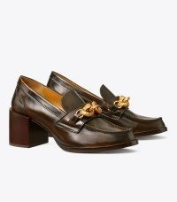 TORY BURCH JESSA PUMP in Melted Caramel ~ brown stacked block heel loafers ~ womens chunky embellished shoes