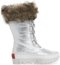 SOREL Joan of Arctic Next Faux Fur Waterproof Snow Boot in Pure Silver Leather ~ womens metallic winter boots