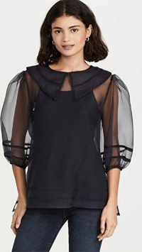 Jonathan Simkhai Katherine Organza Collar Blouse in Black ~ sheer balloon sleeve blouses ~ oversized collar tops