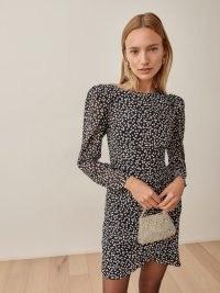 REFORMATION Juni Dress in Pearls / spot print puff sleeve faux wrap skirt mini dresses