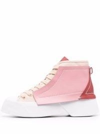 JW Anderson pink panelled high-top sneakers | womens designer hi tops | women's logo trainers