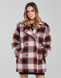 KAPORAL FEO Checked Coat Beige / Red ~ women's relaxed fit military style coats ~ spartoo womens outerwear