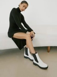 REFORMATION Katerina Lug Sole Chelsea Boot ~ white pull on combat boots