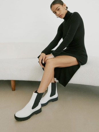 REFORMATION Katerina Lug Sole Chelsea Boot ~ white pull on combat boots - flipped