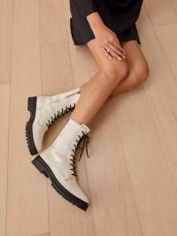 REFORMATION Katya Combat Boot in White ~ luxe lace up boots