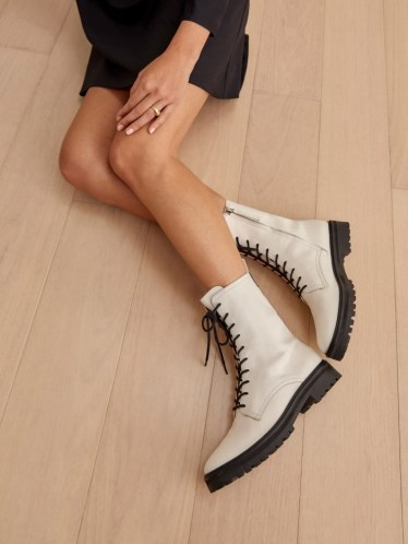 REFORMATION Katya Combat Boot in White ~ luxe lace up boots - flipped