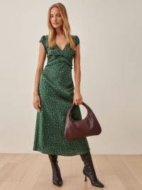 REFORMATION Kaye Dress in Coriander ~ feminine green floral silk charmeuse dresses