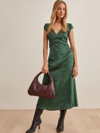 REFORMATION Kaye Dress in Coriander ~ feminine green floral silk charmeuse dresses - flipped