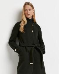 RIVER ISLAND KHAKI BELTED WRAP COAT ~ women's green midi length tie waist coats ~ womens winter outerwear