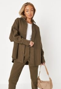 MISSGUIDED khaki co ord oversized denim shirt ~ womens casual on-trend shirts