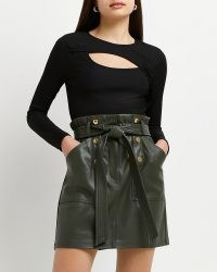 River Island Khaki faux leather belted mini skirt – green tie waist skirts