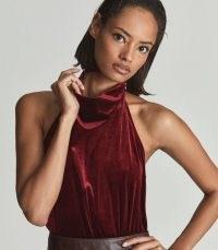 Reiss KIMBERLEY SLEEVELESS VELVET BODYSUIT RED – luxe style high neck evening bodysuits