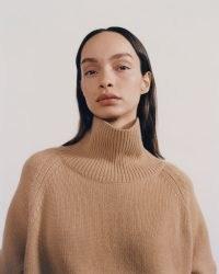 NILI LOTAN LANIE SWEATER ~ camel brown high neck sweaters ~ womens luxe cashmere turtleneck jumpers ~ women's designer knitwear