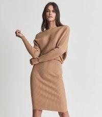 REISS LARA OFF-THE-SHOULDER KNITTED DRESS CAMEL ~ light brown long sleeve rib knit dresses ~ asymmetric neckline fashion