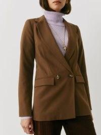 REFORMATION Lazer Blazer in Chocolate ~ womens brown blazers ~ women's autumn jackets ~ sustainable fashion