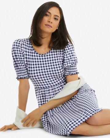 DRAPER JAMES Lee Ann Dress in Gingham IN Nassau navy gingham – blue checked smocked sleeve dresses
