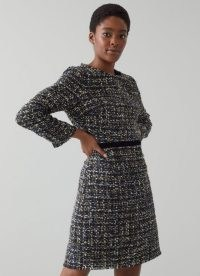 L.K. BENNETT LEENA BLACK LUREX TWEED DRESS ~ textured metallic thread raw edge dresses ~ chic winter fashion