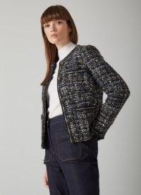 L.K. BENNETT LEENA BLACK LUREX TWEED JACKET ~ classic textured metallic thread jackets