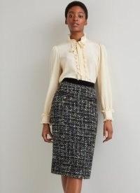 L.K. BENNETT LEENA BLACK LUREX TWEED SKIRT ~ metallic thread pencil skirts