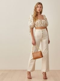 Reformation Lexi High Rise Wide Leg Jeans in Ivory | chic denim fashion