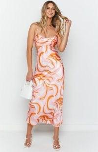 BEGINNING BOUTIQUE Liberty Pink Maxi Dress ~ satin style spaghetti strap dresses ~ glamorous cut out evening fashion