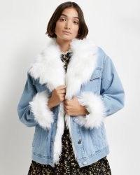 River Island Light blue faux fur trim denim trucker jacket – womens casual winter jackets
