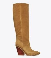TORY BURCH LILA HEELED TALL BOOT in ALCE ~ brown slanted block heel boots ~ womens Western inspired footwear