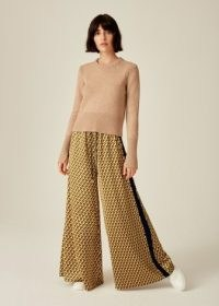 Me and Em Lily Geo Super Wide-Leg Track Pant in Captain Blue/Mustard/Chalk ~ sports inspired relaxed fit flowing trousers ~ fashion sportswear pants