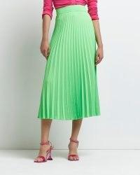 RIVER ISLAND Lime pleated midi skirt ~ bright green skirts