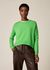 Me and Em Lofty Cashmere Curved Hem Jumper in Electric Green ~ womens luxe crew neck jumpers ~ women's cropped length drop shoulder sweaters