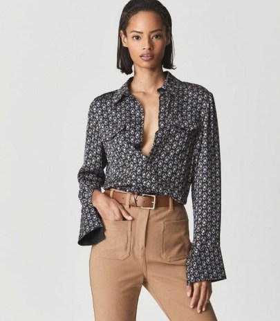 REISS LOLA PRINTED SHIRT NAVY/RED ~ womens chic loose sleeve shirts - flipped