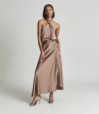 REISS LORENA HALTERNECK SATIN MIDI DRESS MINK ~ glamorous luxe evening occasion dresses ~ halter neck event wear