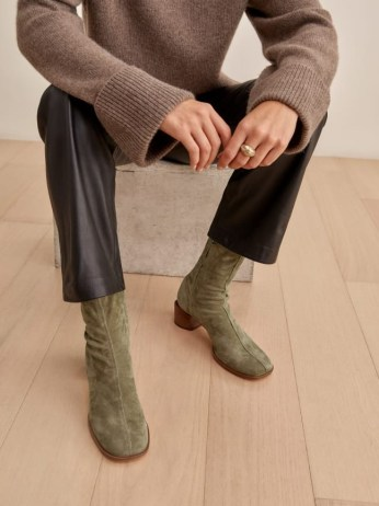 REFORMATION Louie Stretch Sock Bootie in Sage ~ green square toe booties ~ womens autumn stacked block heel boots ~ winter footwear colours - flipped