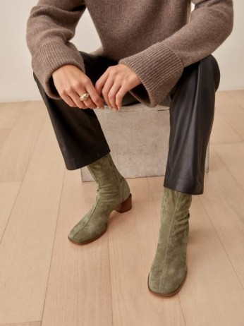 REFORMATION Louie Stretch Sock Bootie in Sage ~ green square toe booties ~ womens autumn stacked block heel boots ~ winter footwear colours